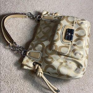 💕 Coach creme jacquard satchel Shoulder bag 💕